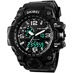 TTLIFE Waistwatch Mens Watch Big Dial Digital Watch Water Resistant Watch Date Calendar Sports Watches Stopwatch Alarm Watch Dual Time Display watch(black)