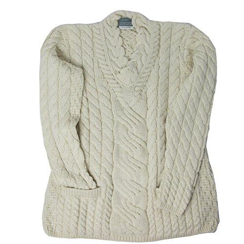 Irische Aran-damen-pullover (Irischer Strickpullover für Damen aus 100% Supersoft Merinowolle, wollweiß (S))