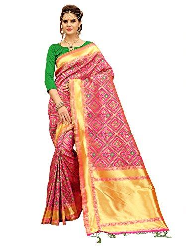 Pink And Green Banarasi Patola Style Saree