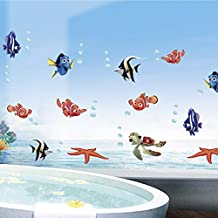 Winhappyhome Mundos bricolaje Undersea Peces para niños pegatinas de pared para el dormitorio Baño Telón de fondo de la decoración desprendible de las etiquetas