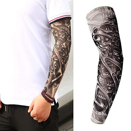 94154362c Skulls Halloween Adult Men Women Slip on Nylon Elastic Stocking Full Arm  Temporary Biker Fake Tattoo