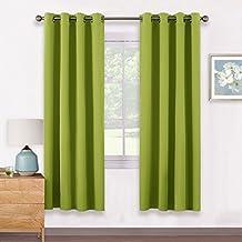 Verdunkelungsvorhänge mit Ösen Vorhang Vorhänge - PONY DANCE 175 x 140 cm (H x B), Grün 1 Paar mit Ösen, Energiespar & Wärmeisolierend, Einfacher und Moderner Stil