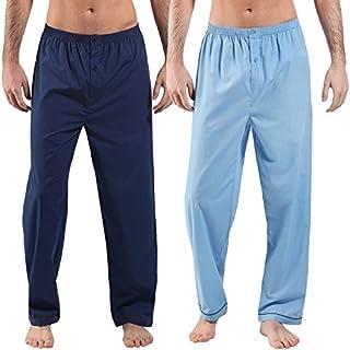 Mens Harvey James Pyjama pajama Trouser Bottoms Lounge Wear Nightwear 2 Pack (X-Large, Sky/Navy)