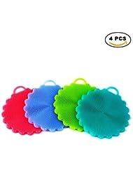 AIEX Anti-bactérienne eponge silicone Non Stick pour lave-vaisselle Brosse à glaçons pour cuisinière à lave-vaisselle à la cuisinière / à laver des fruits et légumes (4pcs Mix Color)