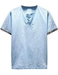 4c71b9f40 waotier Camisetas De Manga Corta para Hombre con Cuello En V Y Manga Corta  De AlgodóN Y Lino Ropa…