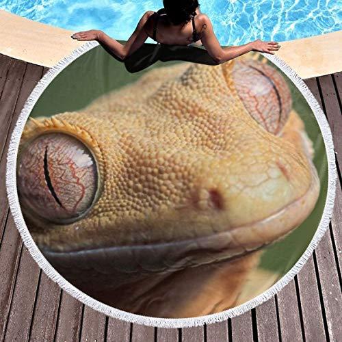 Chou_Joo_Home Niedlicher Gecko mit Haube Runde Strandtuchdecke Roundie Strandtücher Yoga Matte mit Quasten Ultra Soft Water Absorbent - Yoga-matte Gecko