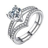 VIKI LYNN Verlobungsringe Eheringe Trauringe Partnerringe 2 Ringe in Sterling Silber 925 und 1 Karat Herz Zirkonia