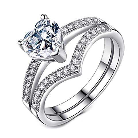 Engagement Rings 1ct Heart Cubic Zirconia Wedding Rings for Women 925 Sterling Silver Ring size M½