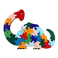 AiSi Colorful Chunky Wooden Cut Number & Alphabet Jigsaw Puzzle-Dinosaur Puzzle