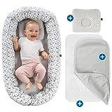 Alvi Babynest Kuschelnest - Babynestchen Set mit Matratze, atmungsaktiver Auflage (TENCEL®) und Baby Kissen gegen Kopfverformung, ÖkoTex geprüft | Bezug aus 100% Baumwolle - Weiß Grau