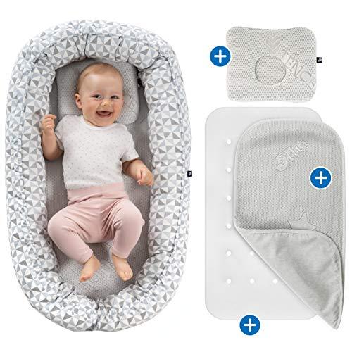 Alvi Nido Reductor bebé con Colchón, Protector (TENCEL®) transpirable y Almohada plagiocefalia,...