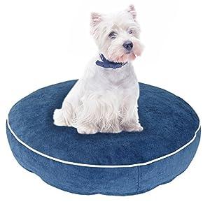 Hundekissen Toni, runder Schlafplatz für Haustiere, Liegeplatz für Hunde und Katzen in smaragdgrün, jeansblau oder dunkelgrau, Hundebett wahlweise in S, M oder L
