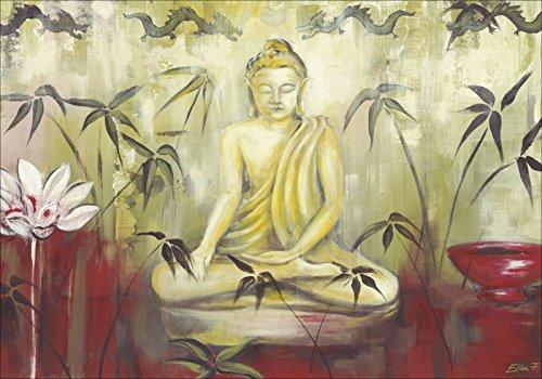 Artland Wandbild auf Alu-Verbundplatte Ellen F. Meditation Fantasy & Mythologie Religion Buddhismus Malerei Grün A1MZ