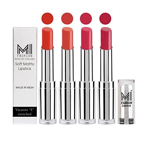 Lipstick Combo Offer MI Fashion® Moist Creamy Matte Pout-Perfect Lipstick Set in 4 Vibrant Colours – Orange Crush,Coral Glamour, Magenta & Mauve(3.5gm each)