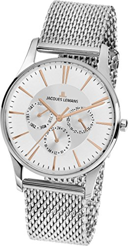Jacques Lemans Unisex Quartz Watch Analogue Display and Stainless Steel Strap 1-1929F