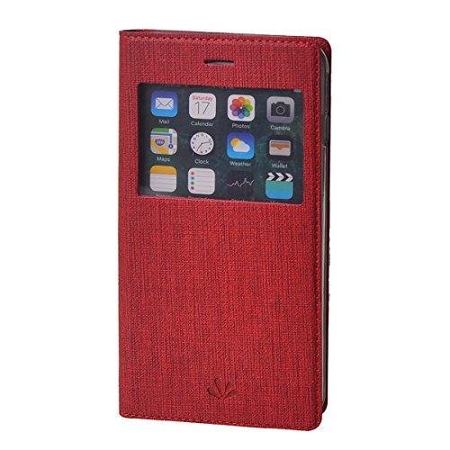 MEIRISHUN Apple iPhone 6 Plus/ 6s Plus Case,Portafoglio PU Pelle Magnetico Stand Morbido Silicone Flip Bumper Protettivo Gomma Shell Borsa Custodie con Slot per Apple iPhone 6 Plus/ 6s Plus - Nero Rosso