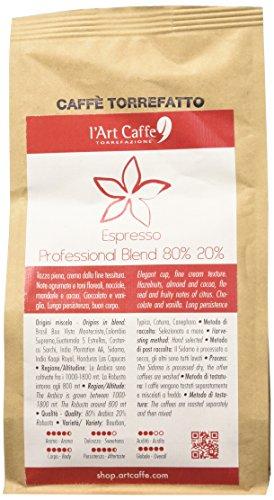 L'Art Caffè Caffè Espresso Professional Blend 80% 20%, miscela Arabica e Robusta, MACINATO FILTRO, coltivazione in altitudine, varietà Bourbon/Typica/Caturra/Canephora, selezionato a mano