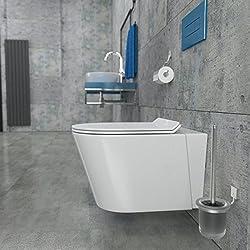 KERABAD Randloses Design Keramik Wand Hänge WC Toilette Randlos inkl. WC Sitz aus Duroplast mit Absenkautomatik Kurze Ausführung 48cm Tief Spülrandlos KB80-1