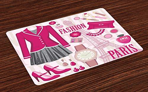 ABAKUHAUS Mädchen Platzmatten, Mode-Thema in Paris mit Outfits Dress Watch Geldbörse Parfüm Parisienne Wahrzeichen, Tiscjdeco aus Farbfesten Stoff für das Esszimmer und Küch, Beige Rosa
