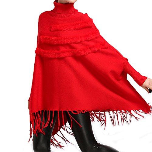 FOLOBE Frauen Fr¨¹hling und Herbst neue Pullover Schal Flut gro?en Code lose Quaste Tasche stricken Pullover Strickjacke Pullover Mantel weiblich (Getrimmt Pelz Faux Cape)