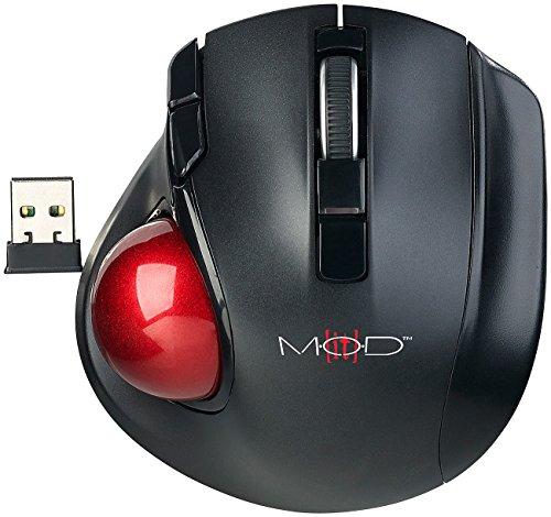 Mod-it Funkmaus: Kabelloser Funk-Laser-Trackball mit 5 Tasten und Scrollrad, 1.200 DPI (Gaming Maus)