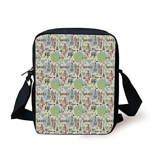 Paris,Eiffel Tower Love Birds Rose Blooms Romantic Nostalgic Graphic Decorative,Cream Pale Blue Brown Lime Green Print Kids Crossbody Messenger Bag Purse -