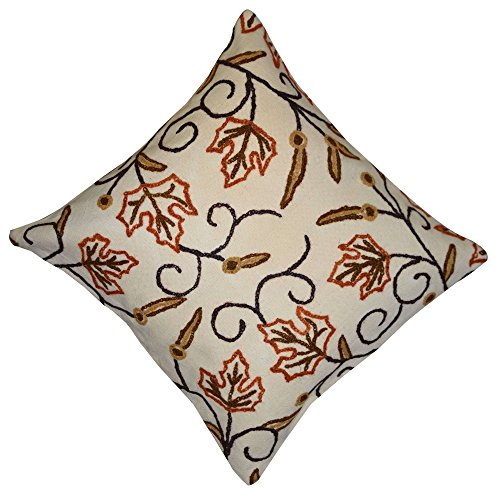 Handmade Wool Thread Work Floral Design Cotton Cushion Covers Set of 5, Size 16