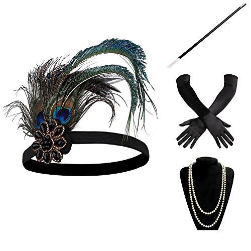 BABEYOND 1920s Flapper Set Damen Gatsby Kostüm Accessoires Set inklusive Stirnband Halskette Handschuhe Zigarettenhalter (Set-10) (1920 Kostüm Ideen)