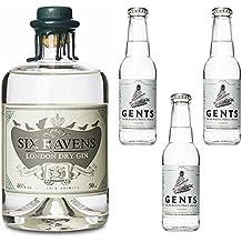 Six Ravens Gin & Tonic Set / Premium London Dry Gin mit frischem Ingwer destilliert - 46% Vol. - 0.5 Liter - Mit Wachs versiegelte Flasche inkl. 3x Gents Tonic Wasser (auch ideal als Geschenk!)