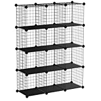 SONGMICS 12 Cube Interlocking Storage Rack with Metal Wire Mesh Shelves Combination Cabinet Display Stand Unit Large Capacity Free Rubber Mallet 93 x 31 x 123 cm Black LPI34H