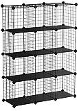 SONGMICS Armario Modular de Malla de Hierro, Armario de Almacenaje, Estantería Modulable, Organizador Multiuso, 4 Niveles, 3 Filas, con 1 Martillo de Goma Gratuito, 93 x 31 x 123 cml, Negro LPI34H