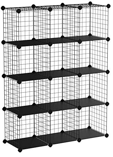 SONGMICS Armoire de Rangement, Étagère, Panneaux en Treillis, 4 Niveaux, 3 Rangs, Grande capacité, Maillet en Caoutchouc Offert, Dimensions 93 x 31 x 123 cm (L x l x H), Noir LPI34H