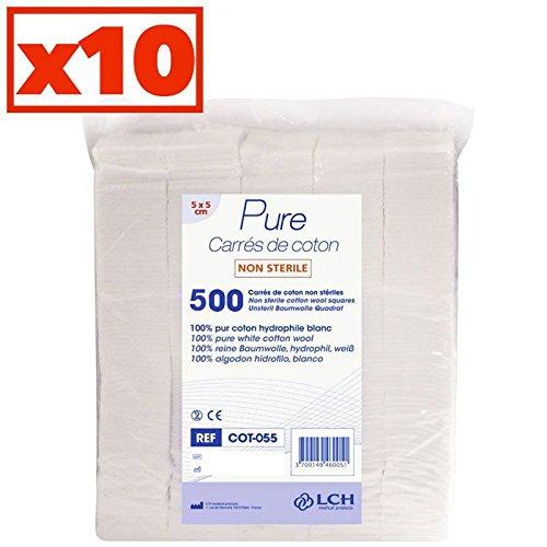 Carrés De Coton 100% Coton Hydrophile Carton De 10 Sachets De 500 Carrés 5 X 5 Cm - Cot-055-10 - By Antigua Health Care