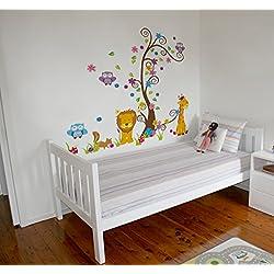 Vinilo decorativo adhesivo - León Jirafa Arbol. Pegatina de pared autoadhesiva e impermeable para niños y bebés. Ideal como regalo para una habitación infantil !