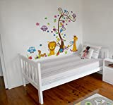 Dekorative Vinyl - Dschungel Lion Giraffe, Klebende, wasserdichte Wandaufkleber für Kinder und Babys. Ideal als Geschenk für das Zimmer eines Kindes!