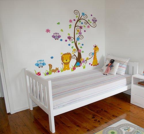 Vinyle décoratif - Jungle Lion Girafe, Sticker mural adhésif et impérmeable pour les enfants et les bébés. Idéal comme cadeau pour la chambre d'un enfant!