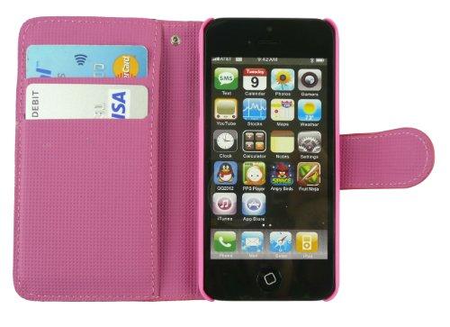Emartbuy® Stylus Pack Für Apple Iphone 5 / 5S Luxus EdelsteinbesetZTEs Weiß Pu-Leder-Desktop-Ständer Case Tasche Hülle Geldbörse Mit Kreditkartensteckplätze + Mini Metallic Weiß Stylus + Displayschutz Rosa