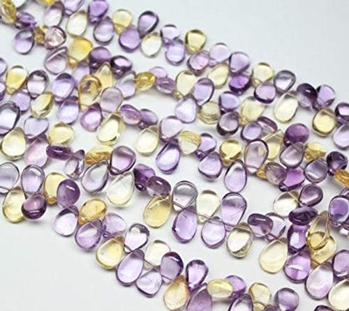ONE AAA Ametrine Multi Color Smooth Pear Drop Gemstone Craft Loose Beads Strand 8 Inch Long 9.5mm 13mm Code-RR-1777 ()
