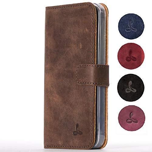 Snakehive iPhone SE / 5S Schutzhülle/Klapphülle echt Leder Kartenfach mit Standfunktion, Handmade in Europa Bye iPhone SE / 5S (Kastanien Braun) -