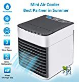 KWLET Portable Air Conditioner Air Cooler USB Desk Mini Evaporative Coolers Humidifier& PurifierPersonal Space Air Cooler Fan 7 Colors LED Sleeping Lights