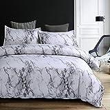 Bettwäsche Bettbezug Set 200x200cm Weiß Grau Marmor Muster Modern Style Mikrofaser Bettbezug mit Reißverschluss Schließung Bettwäsche-Set für Männer und Frauen