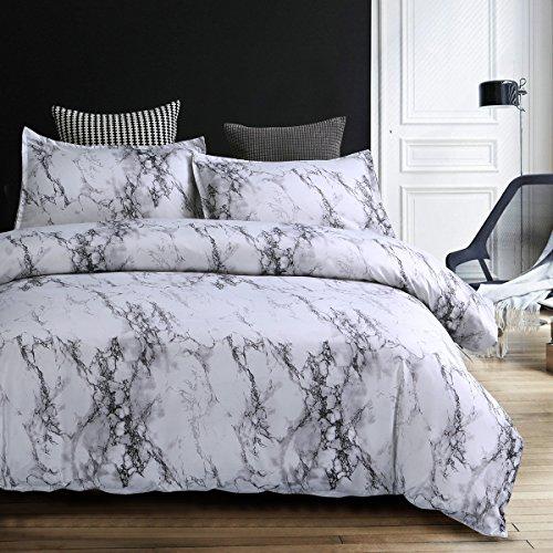 Bettwäsche Bettbezug Set 135x200cm Weiß Grau Marmor Muster Modern Style Mikrofaser Bettbezug mit Reißverschluss Schließung Bettwäsche-Set für Jungen und Mädchen -