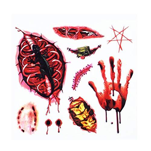 BESTOYARD Tatuajes temporales de miedo de Halloween Cosplay cicatrices falsas Tatuajes de Halloween Tatuajes de la palma de gusano sangriento realistas Horribles pegatinas temporales para hombres Mujeres Niños (al azar)