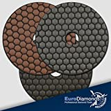 Profi Diamant Schleifpads Dia-Dry im Spar Set, 1500er, 3000er Körnung und Polierer, Ø 125 mm, für Trockenschliff, Naturstein, Marmor, Granit