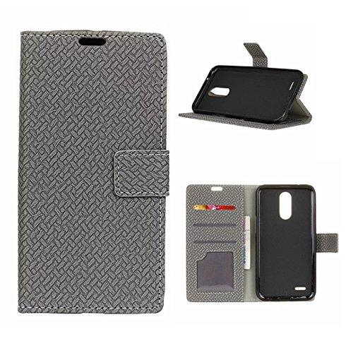YHUISEN Weave Pattern Magnetische Verschluss PU-Leder Brieftasche Flip Folio Case mit Stand / Card Slot Schutzhülle für LG K4 2017 ( Color : Blue ) Gray