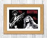 Engravia Digital Jimmy Page & Robert Plant of LED Zeppelin Poster reproduzierter Unterschrift Foto A4Print Oak Frame