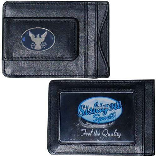 United States Navy Military Black Leather Magnetic Money Clip
