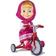 Masha y el Oso Muñeca Masha con triciclo, 12 cm (Simba 9302059)