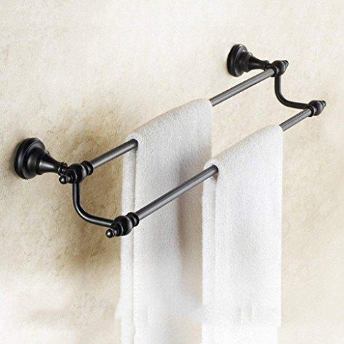 JU Handtuchhalter Europäischen Antike Handtuchhalter Voller Kupfer Schwarz Doppel Bar Handtuchhalter Badezimmer Anhänger Handtuchhalter,40 cm