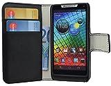 Book-Style Handytasche fuer - Motorola Razr i - Tasche Etui Huelle Schutzhuelle mit Visitenkartenfach in SCHWARZ